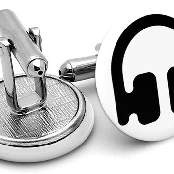 Music Head Phones Cufflinks