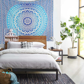 Bedroom Decor - Wall Decor- Wall Hanging - Mandala Tapestry - Beach Decor - Wall Art - Cotton - Gradient Blue Tapestries, Bed Sheets 2023
