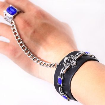 J Store 3 Colors Punk Kuroshitsuji Black Butler Bracelets Hot Animal Leather Bracelet Cosplay Jewelry For Fans Party Accessories