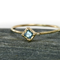 Scarlett Jewelry - Handmade Designer Jewels: Square Aquamarine Stacking Ring, Rings