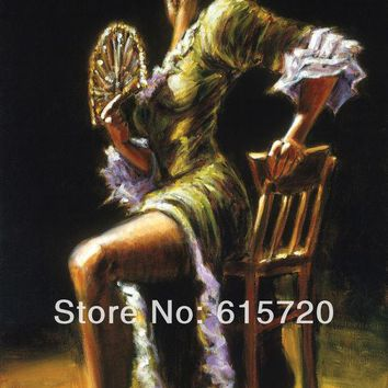 DCCKWQA Fabian Perez Original oil painting ( Flamenco Dancer II ) Giclee Art print reproduction on canvas wall decor