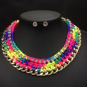 Knitted Colorful Rope Necklace and Earrings