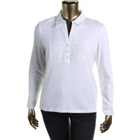 Karen Scott Womens Cotton Pleated Henley Top