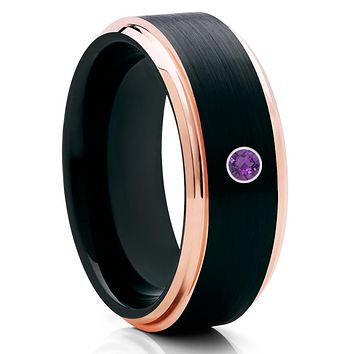 Black Tungsten Wedding Band - Amethyst Tungsten Ring - Rose Gold Tungsten
