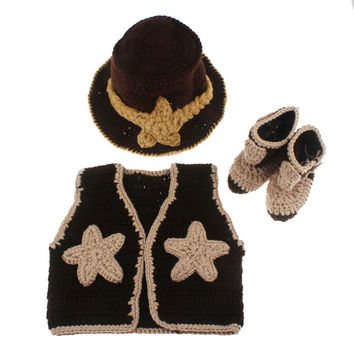 Baby Western Cowboy Hat Boots Vest Costume