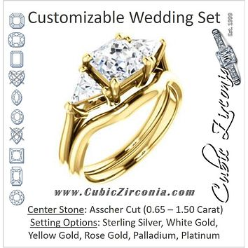 CZ Wedding Set, featuring The Prisma engagement ring (Classic Three-Stone Triangle Accent and Asscher Cut center)