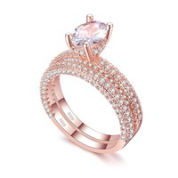 Rose Gold Double Row Cubic Zirconia Wedding Engagement ring