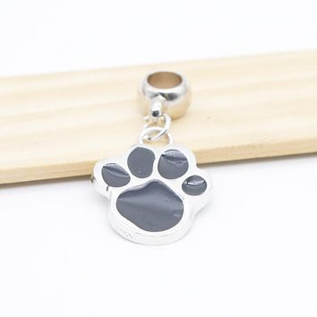 Pendant Charms Metal Black Dog Paw Charms for Bracelet Bangle Necklace for Women Men Jewelry Accessory Fashion 2017