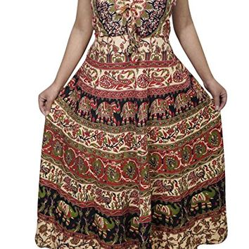 Mogul Interior Womens Sundress Indian Handmade Block Print Elephant On Trail Boho Summer Dresses