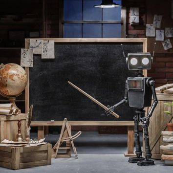 Laeacco Blackboard Robot Teacher Classroom Globe Books Baby Portrait Photographic Backdrops Backgrounds Photocall Photo Studio