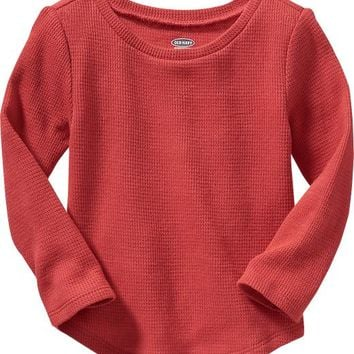 Old Navy Rounded Hem Waffle Knit Tees For Baby