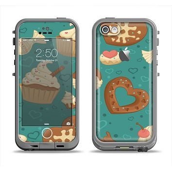 The Teal and Brown Dessert iCons Apple iPhone 5c LifeProof Fre Case Skin Set