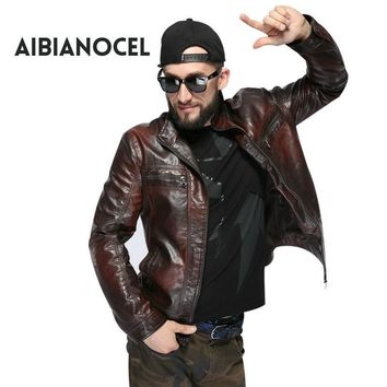 AIBIANOCEL New Fashion Style Faux Leather Coat Men Black Leather Jacket Men S-6XL Casual Motor Leather Jacket PU Leather Jacket