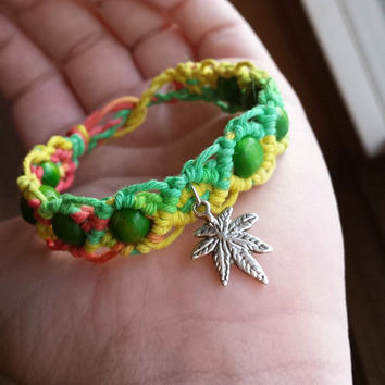 Pot Leaf Bracelet - Hemp Jewelry - Beaded Hemp Bracelet - Legalize Marijuana - Rasta Bracelet - 100% Natural Jewelry