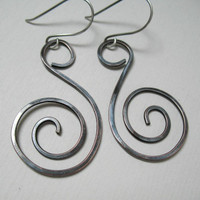 Dangle Copper Earrings Swirls Sterling Silver Ear Wires Rustic