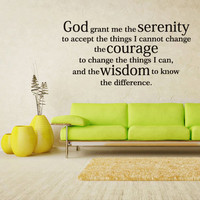 Wall Vinyl Sticker Decals Decor Art Words Sign Quote Lettering God serenity courage (z1151)