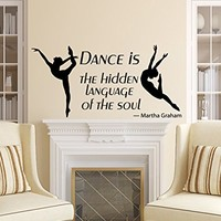 Wall Decals Quotes Dance is the Hidden Language of Soul Dancing Quote Ballet Dancer Ballerina Kids Nursery Wall Vinyl Decal Stickers Bedroom Murals