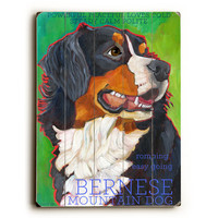 Bernese Mountain Dog by Artist Ursula Dodge Wood Sign