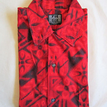 Vintage 1960s Hawaiian Shirt Cotton Red Black 60s Floral Short Sleeve Mens Summer Crop Shirts Medium