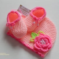 Newborn Crochet Set - Baby Girl Photo Prop - Infant Crochet Set.Booties and Hat. Ready to Ship!