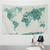 Green Watercolor World Map Tapestry Wall Hanging Vintage Global Map Wall Decor Art for Bedroom Living Room and Dorm