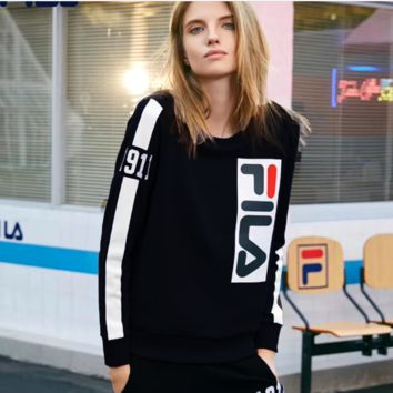 FILA Fashion Women Men Contrast SweaterShirt Black
