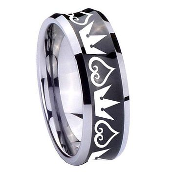 8MM Black Concave Hearts and Crowns Two Tone Tungsten Carbide Laser Engraved Ring