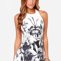 Iris I May Black and Ivory Floral Print Dress