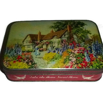 Vintage Country Cottage Tin Floral Home Sweet Home Keepsake Candy Tin English Garden Shabby Home Decor Jewelry Box Trinket Photo Box Tin