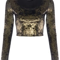 ROMWE | Golden Glittery Midriff Velvet T-shirt, The Latest Street Fashion