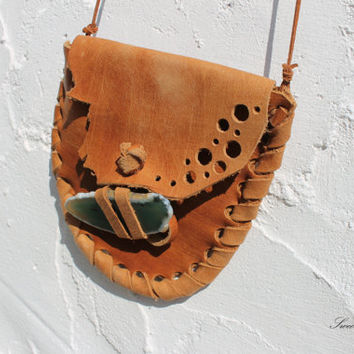 leather ndeicine pouch wallet rusted color agate slice sweet smoke handmade festival gypsy native american southwestern southwest western