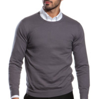 Charcoal Crew Neck Cotton-Cashmere Sweater