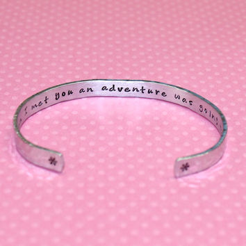 Bridesmaids / Maid of Honor / Friend Gift - Friendship / Adventure Secret Message Custom Hand Stamped Aluminum Cuff Bracelet by Korena Loves