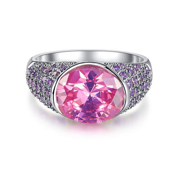 CQ Luxury Jewelry Cocktail Party Wedding Rings Pink Topaz Amethyst 18K White Gold Fashion Ring for Women Black Friday Hot Sale