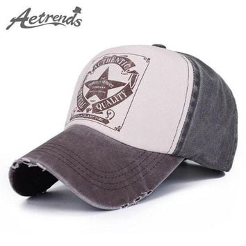 PEAPON [AETRENDS] 6 Colors ! Star Patchwork Baseball Cap Men or Women Outdoor Sport Polo Hats