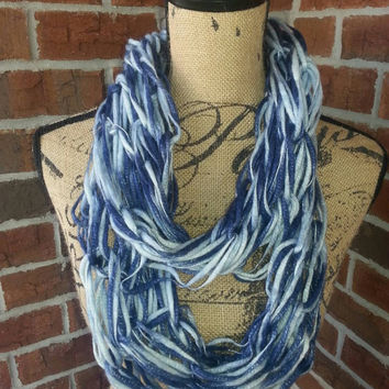 Wool Arm knitted infinity scarf, blue ombre metallic, lightweight scarf, knit scarf, infinity scarf, arm knit scarf, fall fashion scarf