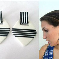 Black White Striped Drop Earrings 1980s Statement
