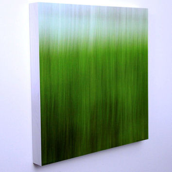 Abstract Nature Photo, Green Grass, Spring and Summer Color, Nursery Art, Modern Wall Art, 16X16 Wood Panel, Ready to Hang