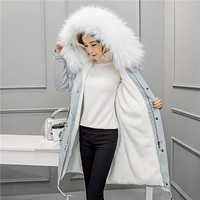 Woman Winter Clothes Padded Slim Women Coat Warm Female Thick Large Fur Collar Hooded Parka Winter Womens Down Cotton Jackets