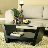 Coffee Table with Glass Top Black Lamp Carpet Sofa Vase Couch Books Free Ship