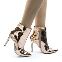 Akira199 Pointed Toe High Heel Dress Ankle Bootie w Mirror Metallic Patent
