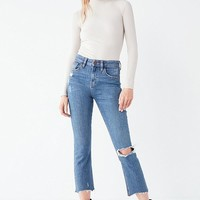 BDG Kick Flare High-Rise Cropped Jean – Distressed | Urban Outfitters