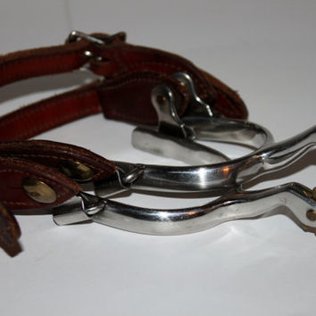 Pairs of 10 point Western Riding Spurs with Leather Straps