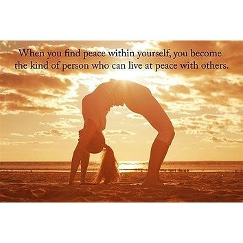 find PEACE within yourself PHOTO POSTER yoga quote SELF AWARENESS calm 24X36