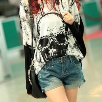 Korean Fashion Skull Printing Black Women Long Sleeves Loose Cotton T-Shirts (For Choose:Black 3 Size)