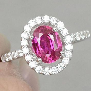 Vintage Oval Cut 1.7CT Cherry Pink Topaz Round Cut White Sapphire Accents Ring