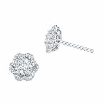 10kt White Gold Women's Round Diamond Flower Cluster Stud Earrings 1-2 Cttw - FREE Shipping (USA/CAN)