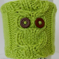 Owl Cup Cozy // Hand Knit // READY TO SHIP // Vegan Eco-Friendly Yarn // Coffee, Tea, Hot Coco, Pop / Soda / Beer Can