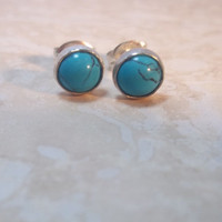 6mm Turquoise Sterling Silver Stud Earrings, Grade AAA Turquoise, December Birthstone, Fine Jewelry, Gift For Women