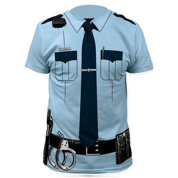 Hot Sale Men Police 3D T Shirt Doctor Gentleman Adult Funny Party Pirate Sailor Prisoner Christams Cosplay Costume Free Shipping